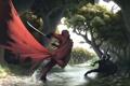Картинка лес, река, сражение, арт, мечи, оружие