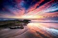 Картинка песок, пляж, скалы, рассвет, океан