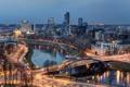 Картинка мост, огни, река, дома, вечер, литва, vilnius