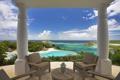 Картинка природа, остров, бассейн, кресла, колонны, терраса, море.