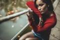 Картинка девушка, отдых, в красном