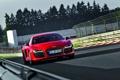 Картинка Audi, Красный, Дорога, Ауди, Машина, Капот, Фары