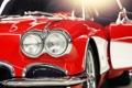 Картинка макро, красный, фары, тюнинг, corvette, шевроле, классика