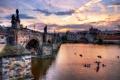 Картинка вода, город, река, вечер, Прага, Чехия, архитектура