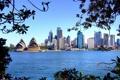 Картинка море, мост, город, дома, причал, Австралия, Сидней
