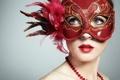 Картинка маска, блестки, девушка, брюнетка, макияж, голубоглазая, красная