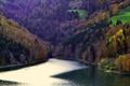 Картинка деревья, горы, осень, склон, озеро