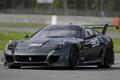 Картинка чёрный, Феррари, Ferrari, суперкар, гоночный трек, передок, Evoluzione