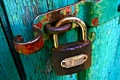 Картинка green, old, door, padlock, wood door, door lock