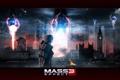 Картинка атака, Лондон, разрушения, капитан, пришельцы, Шепард, Mass Effect 3