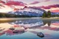 Картинка лес, снег, пейзаж, горы, озеро, рассвет