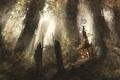 Картинка лес, арт, лестница, беседка