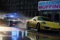 Картинка желтый, город, трасса, полиция, лужи, Need for Speed, Electronic Arts