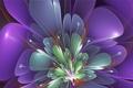 Картинка цветок, фиолетовый, линии, лепестки, тычинки, зелёный
