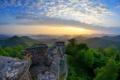 Картинка горы, рассвет, Германия, руины, туристы, Wegelnburg, Рейнланд-Пфальц