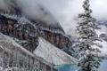 Картинка зима, снег, деревья, горы, озеро