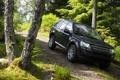 Картинка дорога, лес, деревья, фон, чёрный, джип, Land Rover