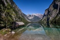 Картинка горы, камни, Германия, Бавария, домик, озеро Кёнигсзе