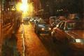 Картинка Mark Lague, вечер, огни, город, такси, дорога, арт