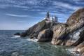 Картинка море, скалы, побережье, маяк, Ирландия, Ireland, Howth