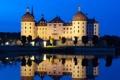 Картинка небо, ночь, огни, озеро, замок, башня, Германия