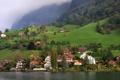 Картинка лес, город, озеро, фото, дома, Швейцария, Kehristen