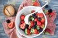 Картинка ягоды, клубника, тарелка, красные, сахар, ежевика, ваниль