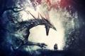 Картинка деревья, лес, арт, mystic dragon, воин