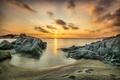Картинка пляж, камни, океан, рассвет, берег, утро