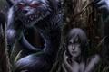 Картинка лес, монстр, оборотень, волк, Арт, ночь, девушка