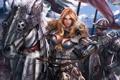 Картинка девушка, металл, кони, армия, воин, арт, доспех