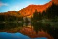 Картинка США, лес, небо, лето, округ Сан-Мигель, вода, вечер