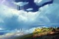 Картинка зелень, облака, цветы, камни, человек, арт