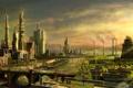Картинка мост, город, река, люди, арт, руины, miyahara shuta