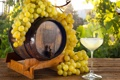 Картинка ягоды, жёлтый, вино, белое, бокал, виноград, напиток