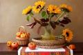 Картинка цветы, ваза, перец, натюрморт, корзинка, овощи, помидор