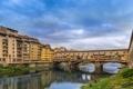 Картинка небо, облака, мост, река, Италия, Флоренция, Понте Веккьо