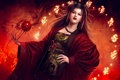 Картинка девушка, поза, огонь, магия, art, mario wibisono, legend of the five rings