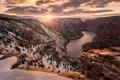 Картинка зима, снег, природа, река, рассвет, каньон
