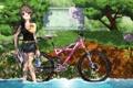Картинка лето, вода, девушка, деревья, велосипед, река, бутылка