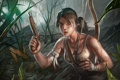 Картинка лес, девушка, пистолет, оружие, арт, Лара, Крофт
