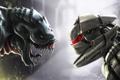 Картинка фантастика, робот, монстр, противостояние, Robot vs monstre