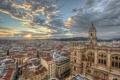 Картинка облака, восход, здания, Spain, Barcenilla