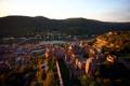 Картинка река, замок, дома, Германия, мосты, вид сверху, Heidelberg
