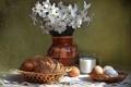 Картинка цветы, стакан, стол, яйца, молоко, хлеб, ваза