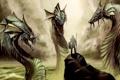 Картинка Warrior, water, shield, creature, spear, Hydra