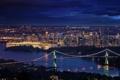 Картинка ночь, мост, город, река, дома, Downtown Vancouver