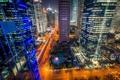 Картинка ночь, город, огни, дома, Китай, Шанхай