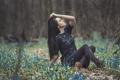 Картинка зелень, лес, девушка, цветы, photographer, сидя, Julia Sariy
