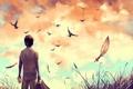 Картинка трава, облака, птицы, мальчик, арт, книга, портфель